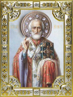 Купить икону Николая Чудотворца в окладе