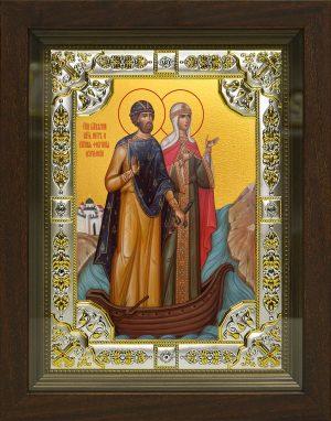 купить икону Петра и Февронии в окладе и киоте