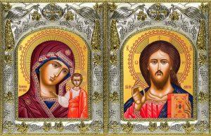 Венчальная пара икон Господь Вседержитель и Казанская икона Божьей Матери в окладе