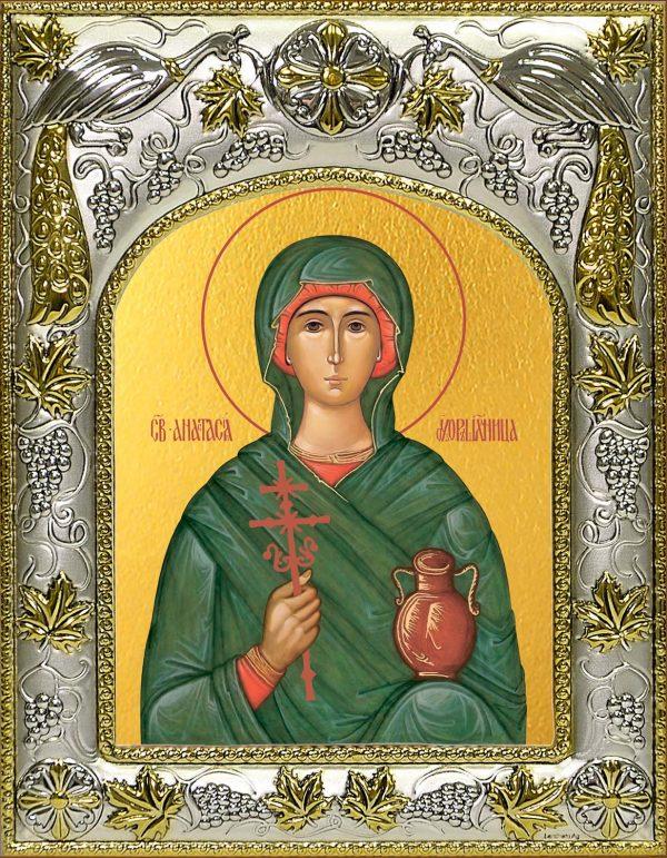 Икона Анастасия Узорешительница в окладе