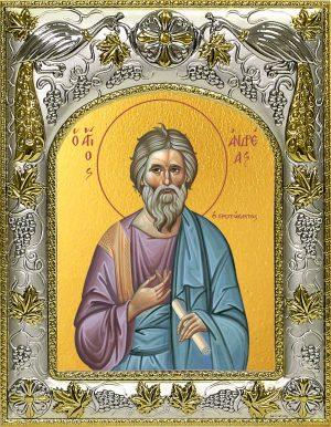 Икона Андрей Первозванный апостол в окладе