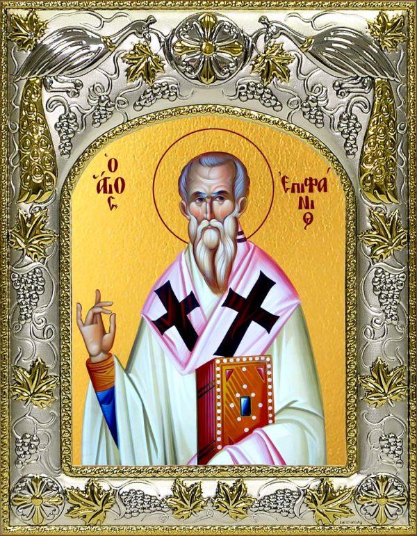 Икона Епифаний Кипрский святитель в окладе