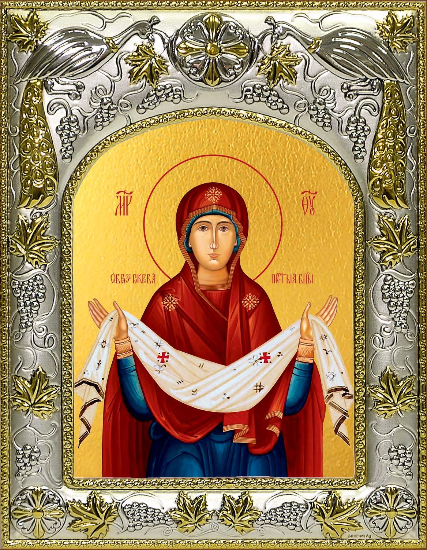Икона Покров Пресвятой Богородицы в окладе