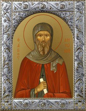 Иконы Антония Великого в окладе