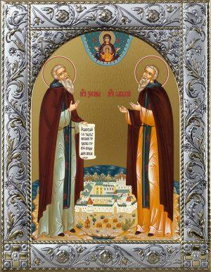 Иконы Зосимы и Савватия в окладе