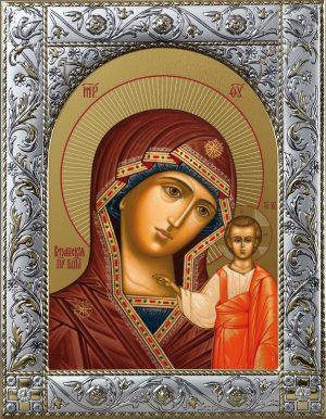 Казанская икона Божией Матери в окладе