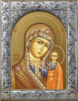 Купить Казанскую икону Божьей Матери в окладе