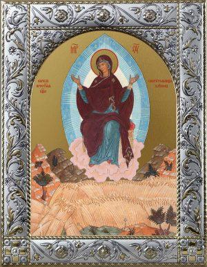 Спорительница хлебов икона Божией Матери в окладе