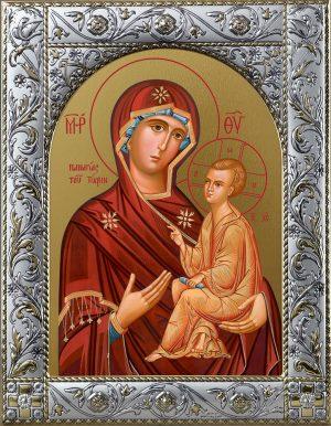Тихвинская икона Божией Матери в окладе