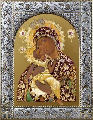 Взыграние Младенца икона Божией Матери в посеребренной рамке