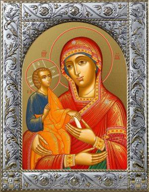 Троеручица икона Божией Матери, икона в окладе