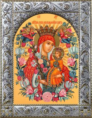 Неувядаемый Цвет икона Божией Матери в окладе