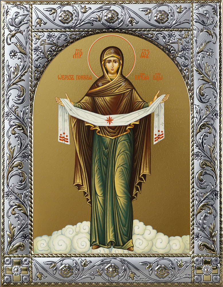 Икона Покров Богородицы в рамке