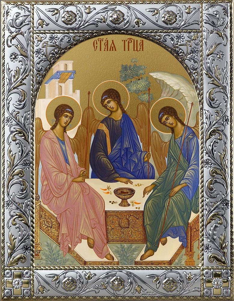 Икона Святая Троица в окладе