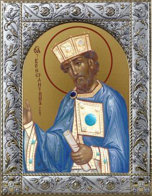Константин равноапостольный царь икона в окладе