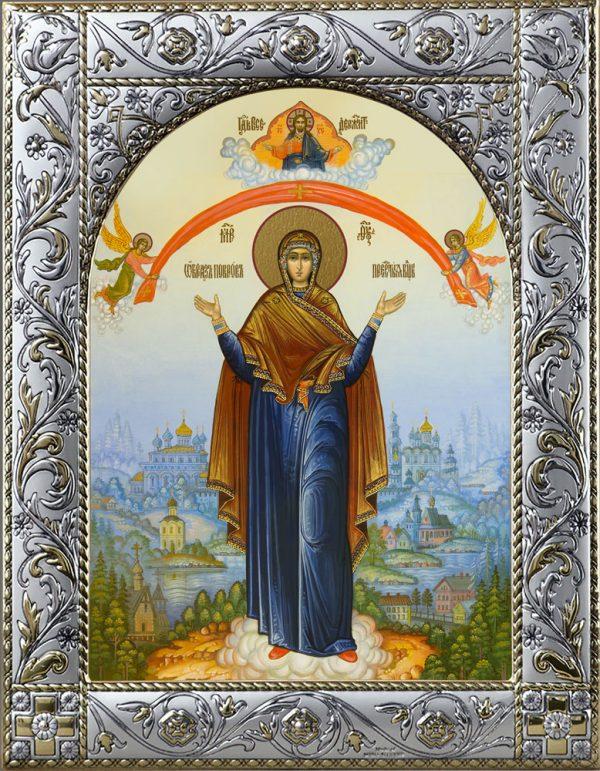 Покров икона Божией Матери в окладе