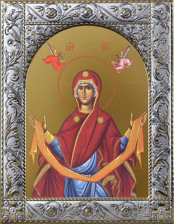 Икона Покров Божией Матери в окладе