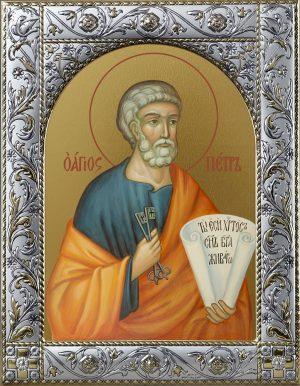 Икона Петр апостол в окладе