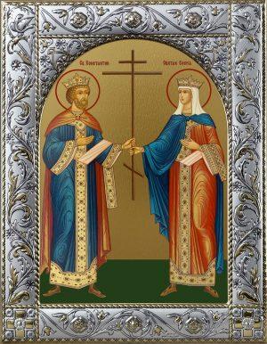 Икона Константин и Елена равноапостольные в окладе