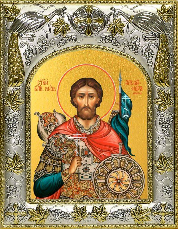 Икона князя Александра Невского в окладе
