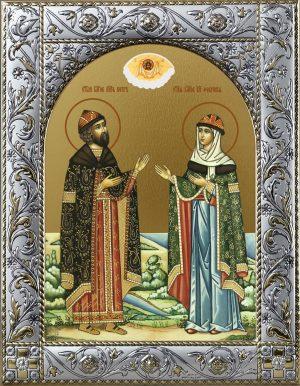 Икона Петр и Феврония благоверные икона в окладе