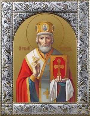 Купить икону Николай чудотворец, архиепископ Мир Ликийских, святитель в окладе