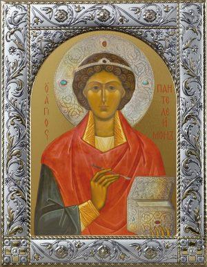 Икона Пантелеимон великомученик и целитель в окладе