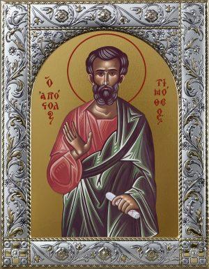 Икона Тимофей апостол в окладе