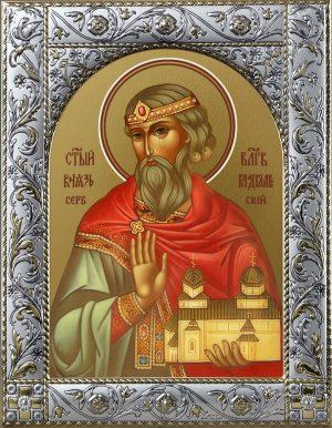 Владислав Сербский, благоверный князь икона в окладе