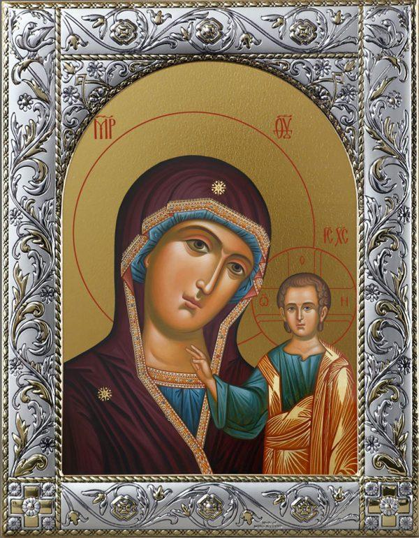 Образ Казанской иконы Божией Матери в окладе
