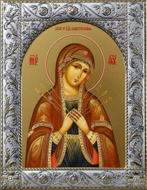 Икона Божией Матери Семистрельная в окладе
