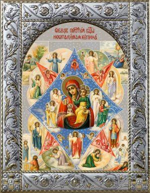 Неопалимая Купина икона Божией Матери в окладе