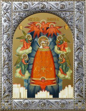 Прибавление Ума икона Божией Матери в окладе
