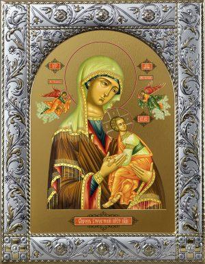 Страстная икона Божией Матери в окладе