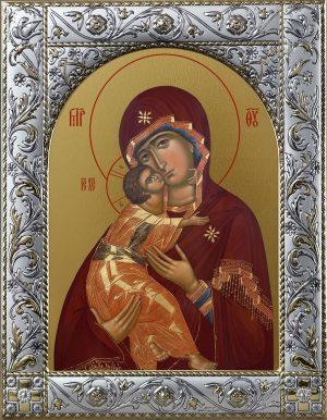 Владимирская икона Божией Матери в окладе