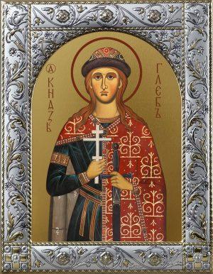 Глеб благоверный князь-страстотерпец икона в окладе