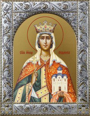 Людмила мученица, княгиня чешская икона в окладе