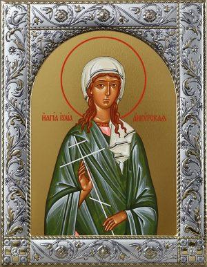 Иулия Анкирская (Коринфская), дева мученица, икона в окладе