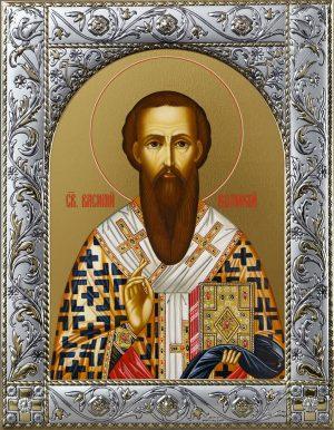 Икона Василий Великий святитель в окладе