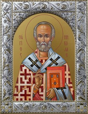 Икона Николай чудотворец, архиепископ Мир Ликийских, святитель в окладе