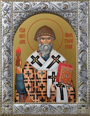 Икона Спиридон Тримифунтский святитель в окладе