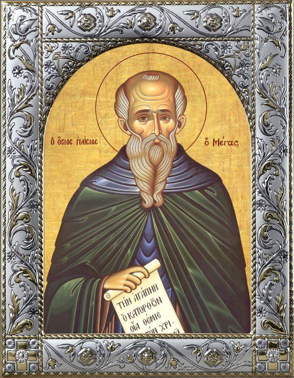 Паисий Великий преподобный, икона в окладе