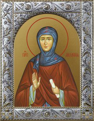 Мелания Римляныня преподобная, икона в окладе