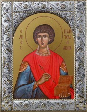 Пантелеимон великомученик и целитель икона в окладе