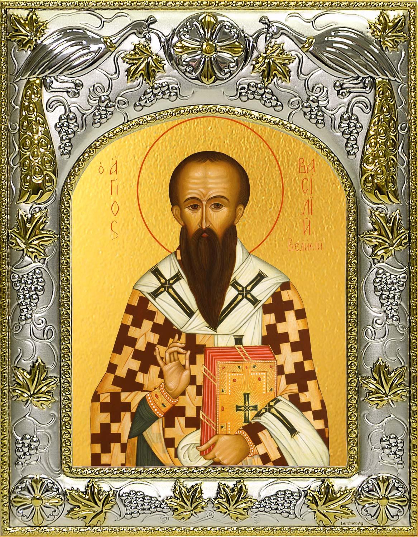 Икона святого святителя Василия Великого в окладе