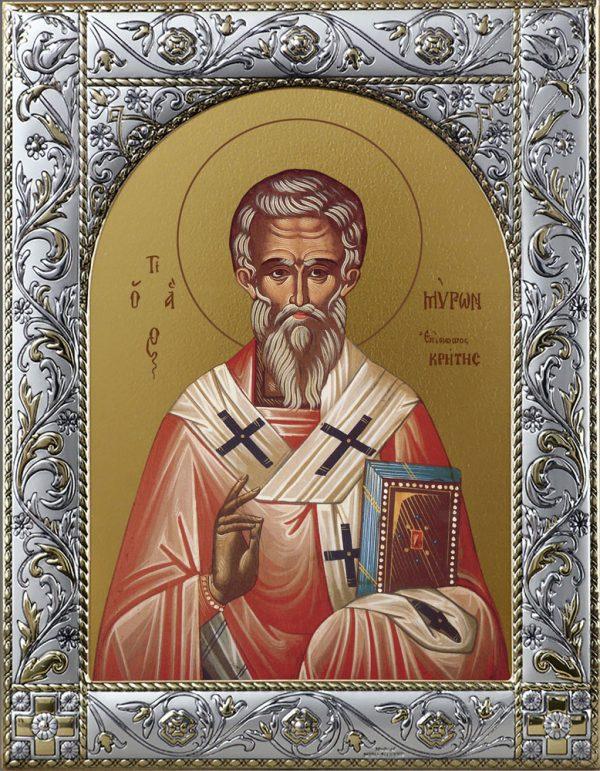 Мирон чудотворец, епископ Критский святитель икона в окладе