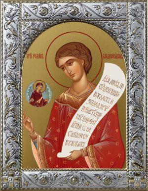 Купить икону Роман Сладкопевец преподобный в окладе