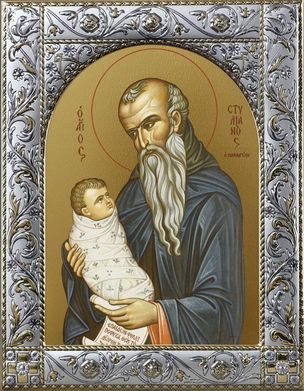 Купить икону Стилиан преподобный в окладе