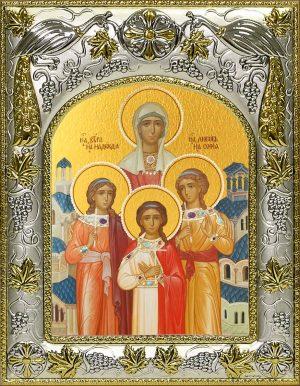 Икона Вера, Надежда, Любовь и их матерь София мученицы в окладе