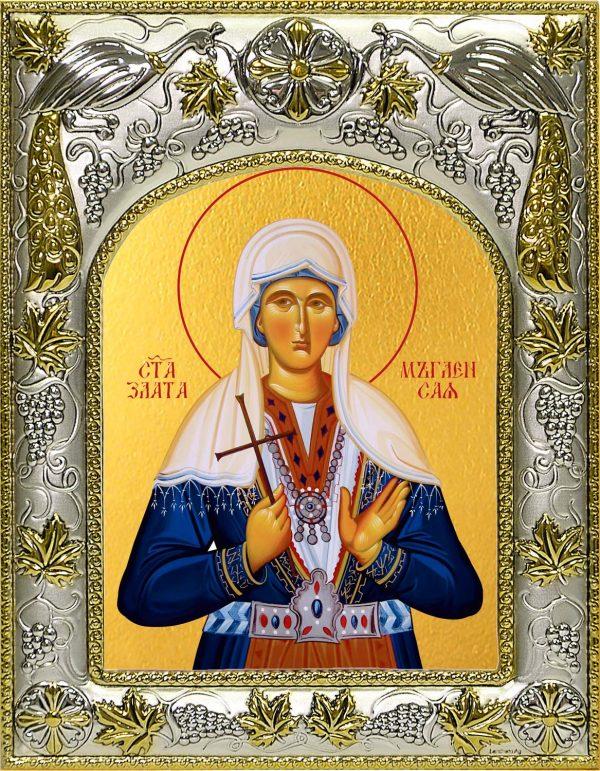 Икона святой Златы в окладе